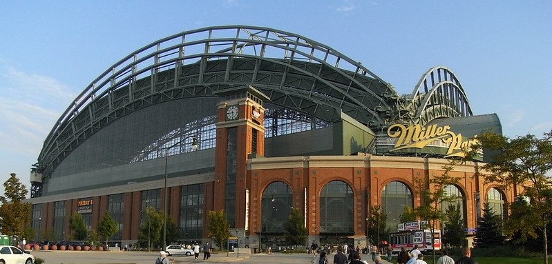 Exterior photo of Miller Park. Home of the Milwaukee Brewers.
