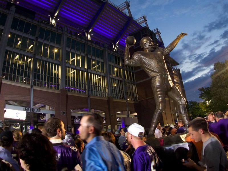 Photo of Baltimore Ravens fans entering M&T Bank Stadium in Baltimore, Maryland.