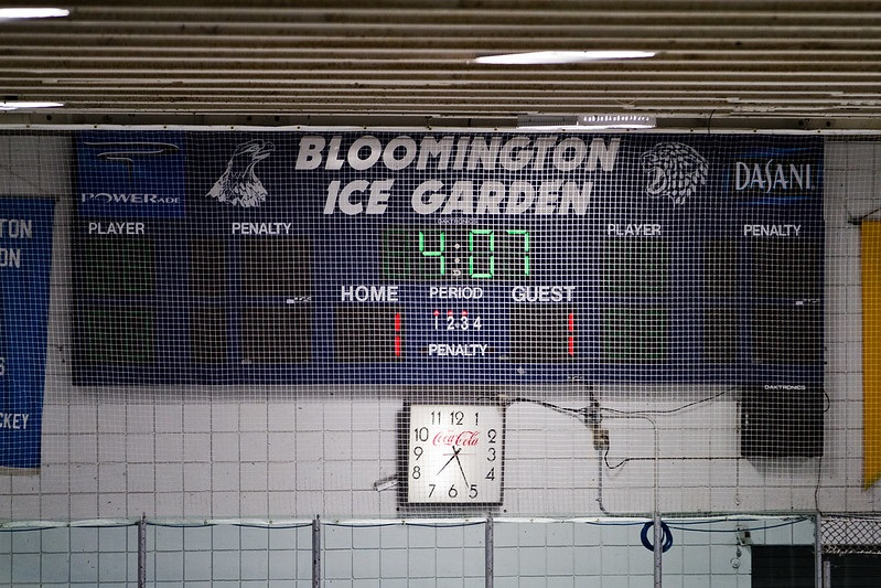 Photo of the scoreboard at the Bloomington Ice Garden.