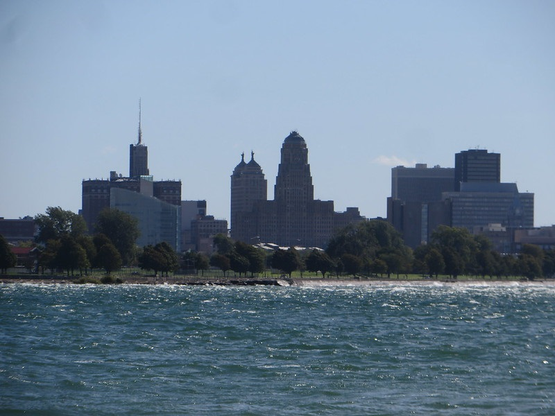 Photo of downtown Buffalo, New York and Lake Erie.