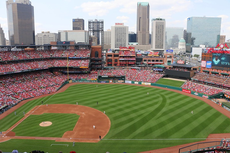 Photo of the field at Busch Stadium. Home of the St. Louis Cardinals.
