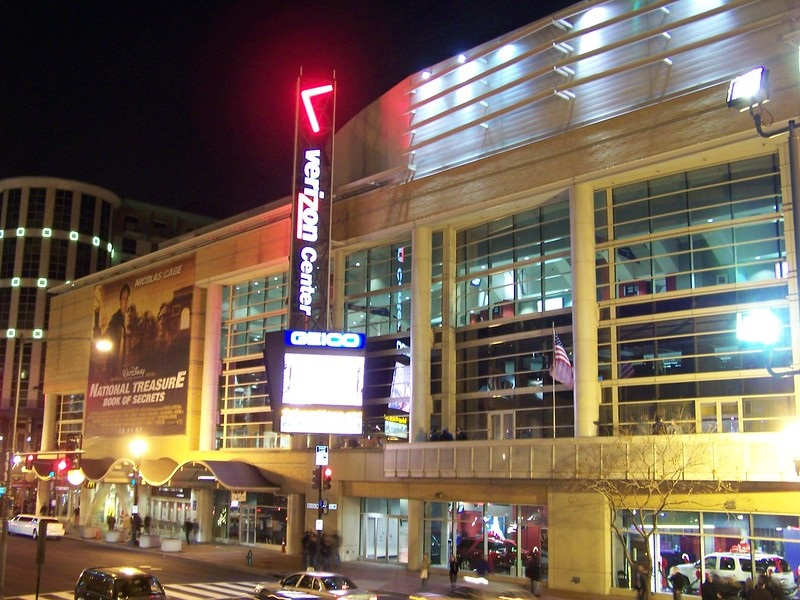 Exterior photo of Capital One Arena in Washington, D.C. Home of the Washington Capitals and Washington Wizards.