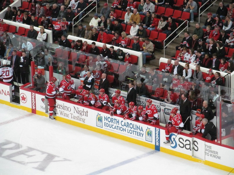 Photo of the Carolina Hurricanes' bench at PNC Arena.