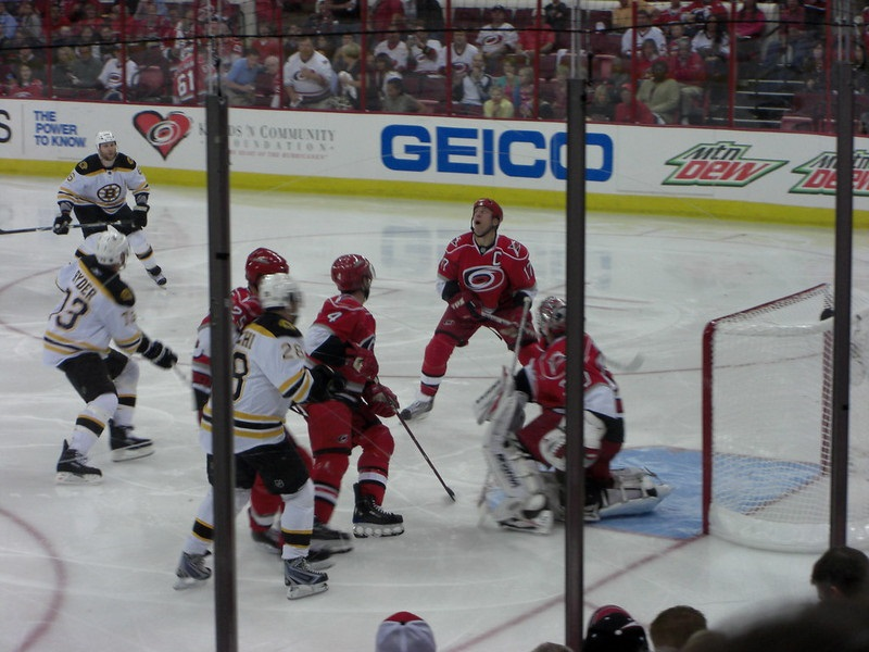 Photo of the Carolina Hurricanes versus the Boston Bruins at PNC Arena.