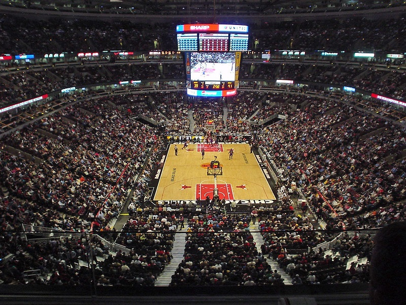 Photo taken from the upper level of the United Center during a Chicago Bulls home game.