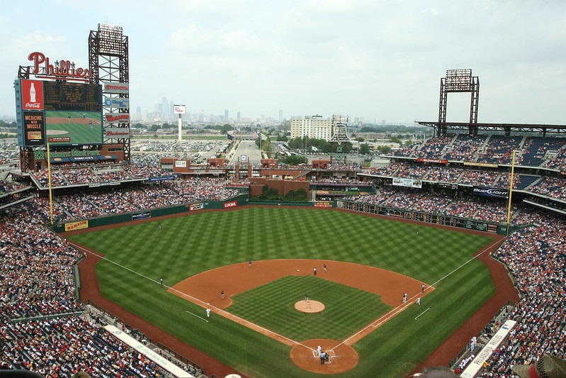 Panorama of Citizens Bank Park during a Philadelphia Phillies game.