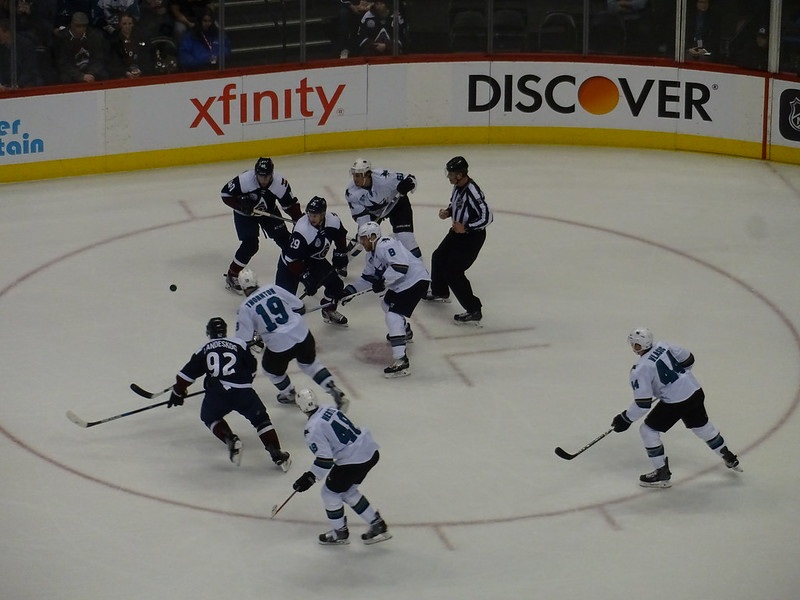 Photo of a Colorado Avalanche game versus the San Jose Sharks.