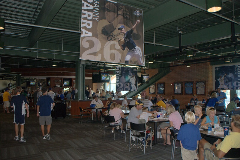 Photo of a concession area at Miller Park during a Milwaukee Brewers game.