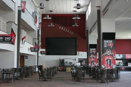 Photo of the concourse at Raymond James Stadium, home of the Tampa Bay Buccaneers.