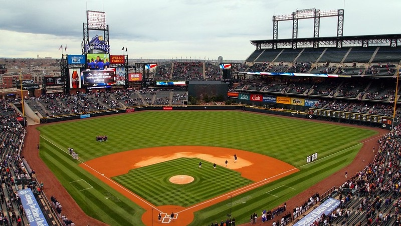 Photo of the infield at Coors Field from the 2nd level. Home of the Colorado Rockies.