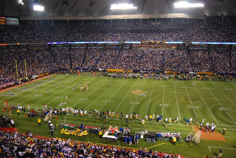 Photo of the field at the Hubert H Humphrey Metrodome. Home of the Minnesota Vikings.