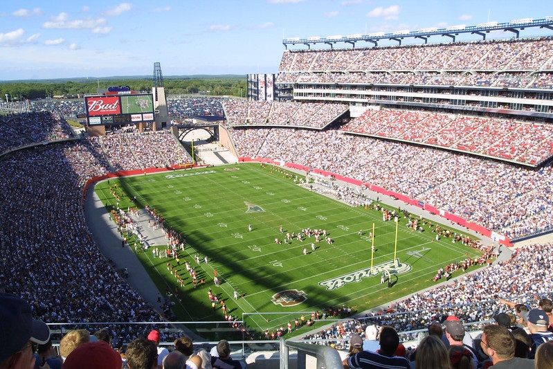 Photo of Gillette Stadium during a New England Patriots game.