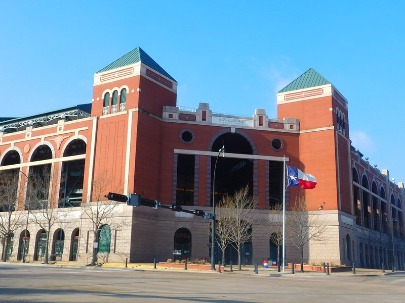 Exterior photo of Globe Life Park in Arlington. Home of the Texas Rangers.