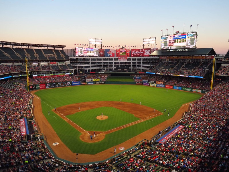 Photo of Globe Life Park in Arlington taken from the upper level during a Texas Rangers game.