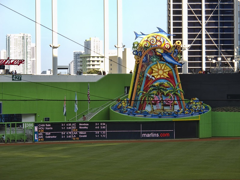 Photo of the home run sculpture at Marlins Park. Home of the Miami Marlins.