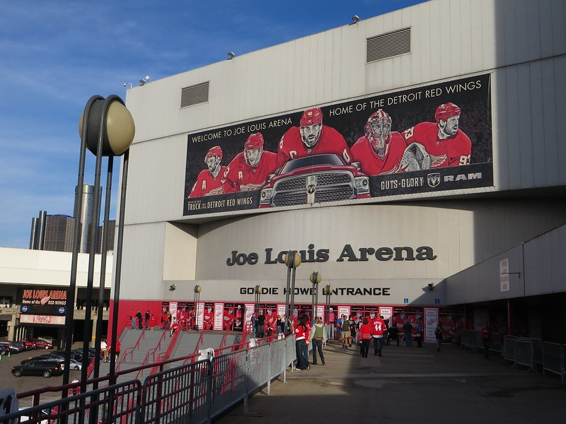 Exterior photo of Joe Louis Arena in Detroit, Michigan. Home of the Detroit Red Wings.