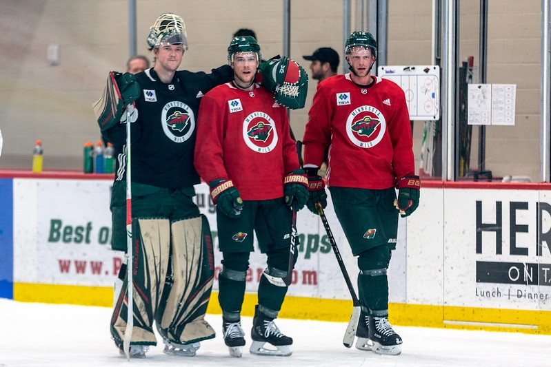 Photo of Minnesota Wild players during a morning skate.