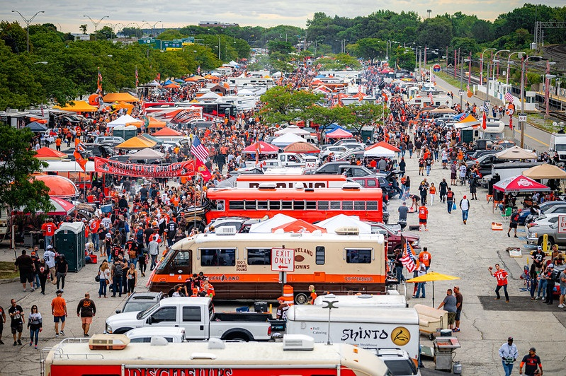 Photo of Cleveland Browns tailgating in the Muni Lot at FirstEnergy Stadium.