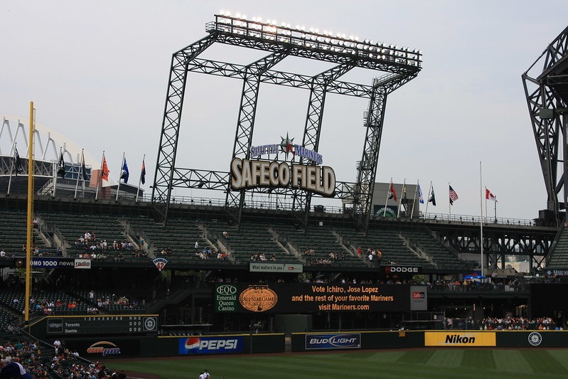 Photo of the outfield seats at Safeco Field during a Seattle Mariners game.