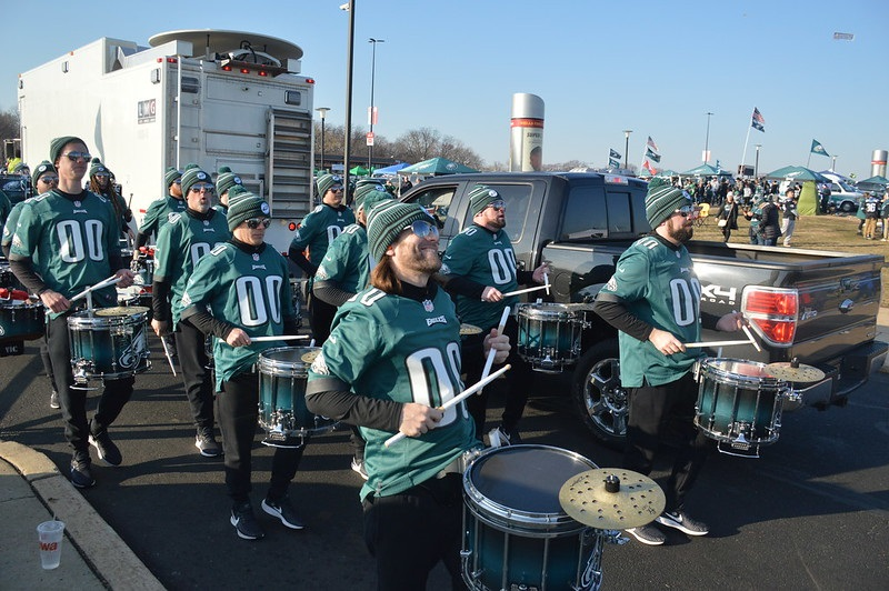 Photo of the Philadelphia Eagles drumline in the tailgate lots of Lincoln Financial Field.