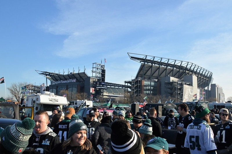 Photo of Philadelphia Eagles fans tailgating at Lincoln Financial Field.