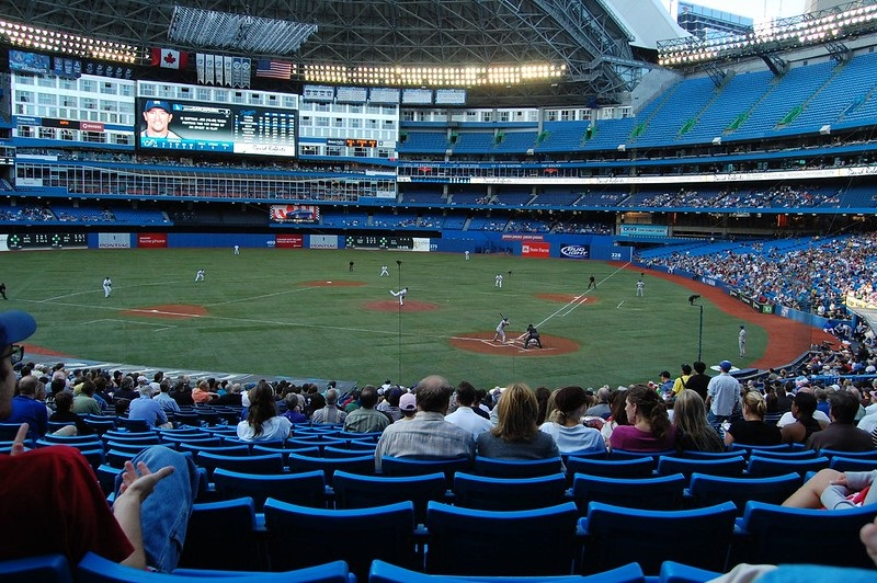 Photo of a poorly attended game at the Rogers Centre during a Toronto Blue Jays game.