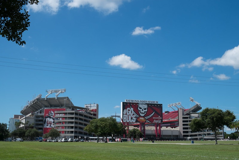 Exterior photo of Raymond James Stadium. Home of the Tampa Bay Buccaneers.