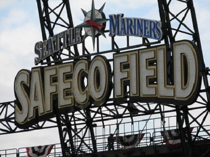 Photo of the large Safeco Field sign at Safeco Field in Seattle, Washington.