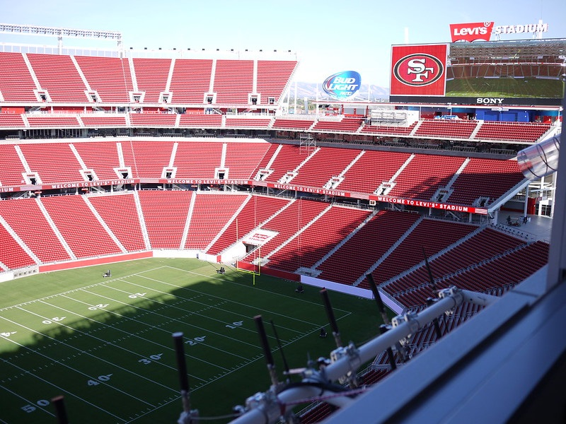 Photo of the shade being cast on Levi's Stadium. Home of the San Francisco 49ers.