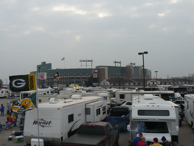 Photo of Green Bay Packers fans tailgating at Lambeau Field before a Packers home game.