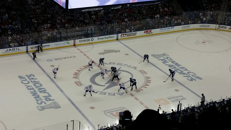Photo of a Tampa Bay Lightning game at Amalie Arena.