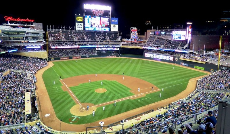 Photo of the playing field at Target Field during a Minnesota Twins night game.