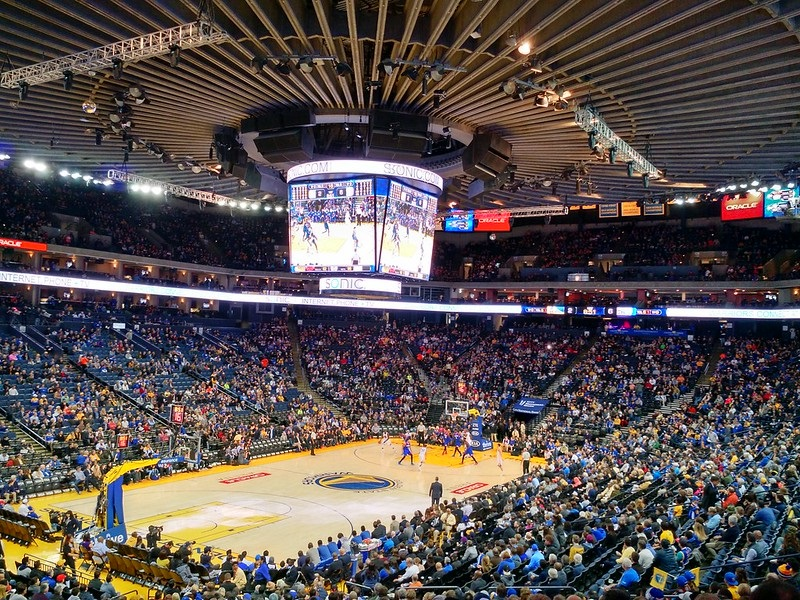 Photo taken from the lower level of Oracle Arena during a Golden State Warriors game.