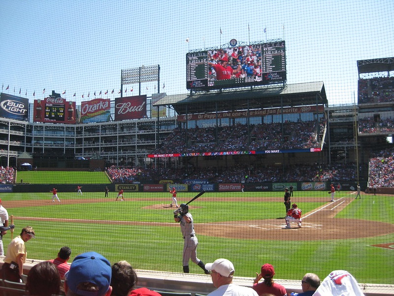 Photo of the outfield seats at Globe Life Park in Arlington. Home of the Texas Rangers.