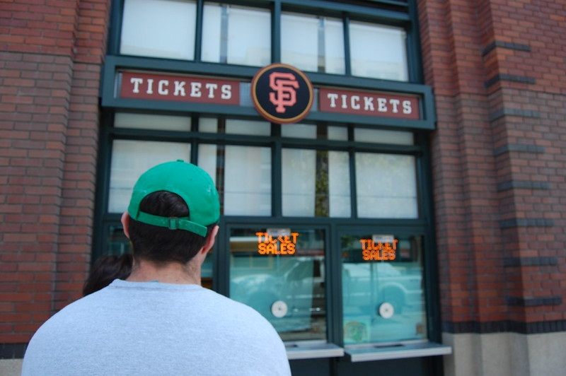 Photo of baseball fans waiting in line at the will call office at Oracle Park. Home of the San Francisco Giants.