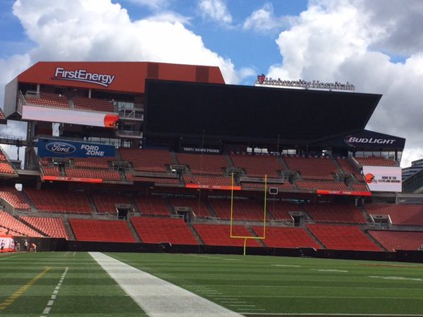 Photo of the field at FirstEnergy Stadium, home of the Cleveland Browns.