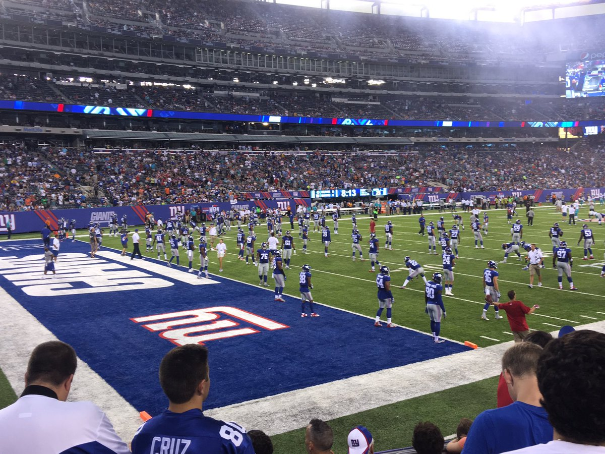 View of the Field from the Field Level Seats at Metlife Stadium.