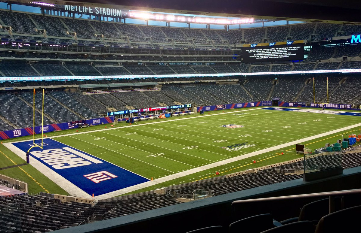 View of the field from the Touchdown Club at Metlife Stadium