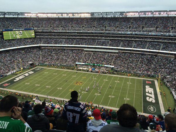 View of the field at Metlife Stadium from the upper level.