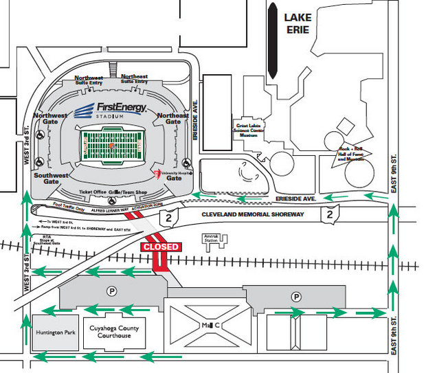 Map of FirstEnergy Stadium's parking and tailgating lots.