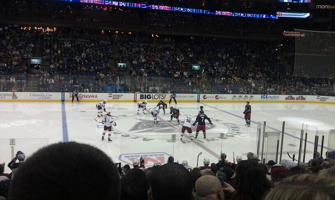 View from the lower level seats at Nationwide Arena during a Columbus Blue Jackets game.