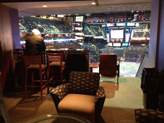 Interior photo of a suite at Nationwide Arena during a Columbus Blue Jackets game.