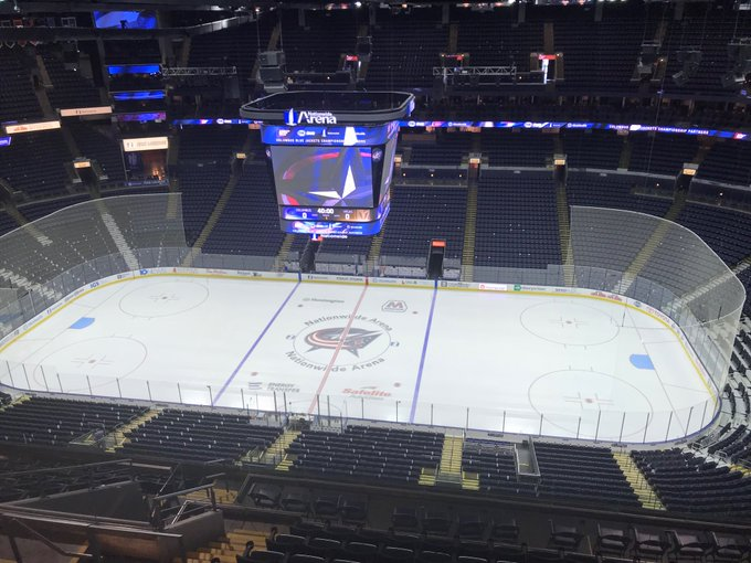 View from the upper level seats at Nationwide Arena before a Columbus Blue Jackets game.