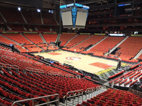 Photo of the court at the Philips Arena, home of the Atlanta Hawks.