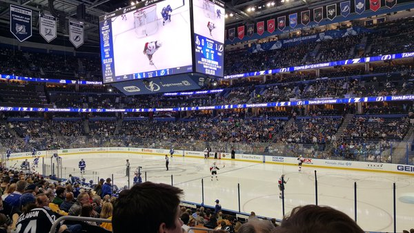 Photo of the ice at Amalie Arena, home of the Tampa Bay Lightning.