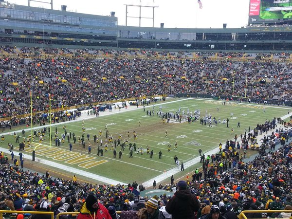 Photo of the field at Lambeau Field, home of the Green Bay Packers.