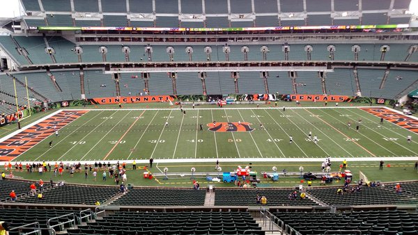 Photo of the field at Paul Brown Stadium, home of the Cincinnati Bengals.