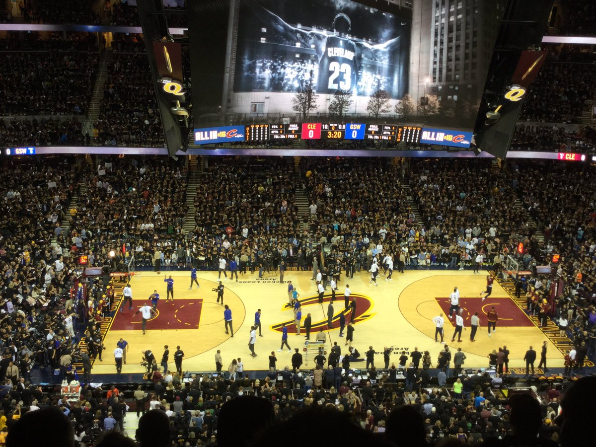 Photo of the court at Quicken Loans Arena, home of the Cleveland Cavaliers.