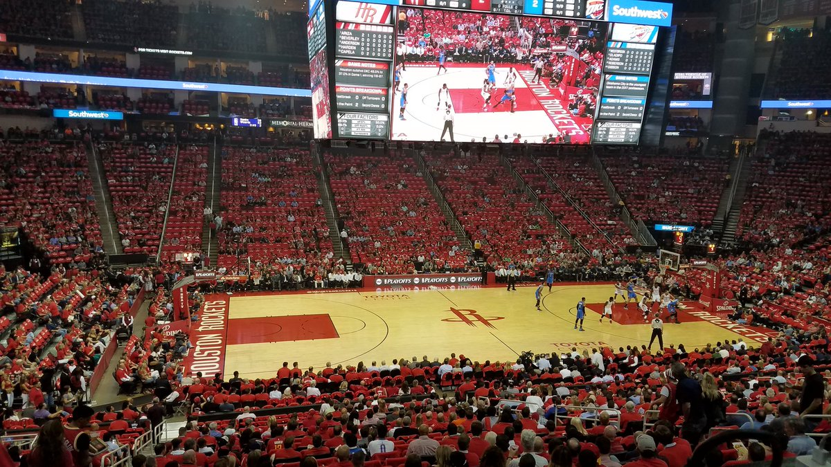 Photo of the court at the Toyota Center, home of the Houston Rockets.