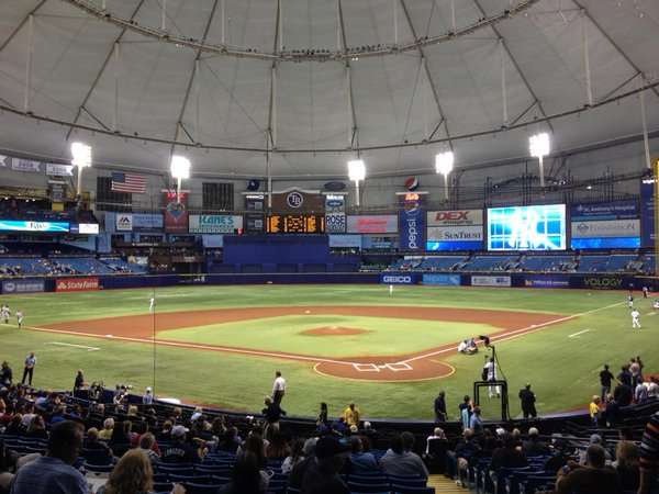 Photo of the field at Tropicana Field, home of the Tampa Bay Rays.